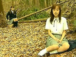 Horny Asian Lesbians Outside In The Forest